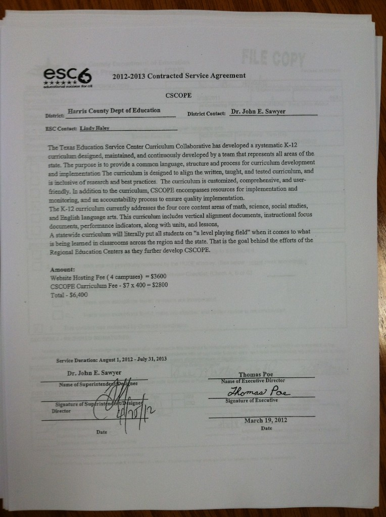 CSCOPE Contract