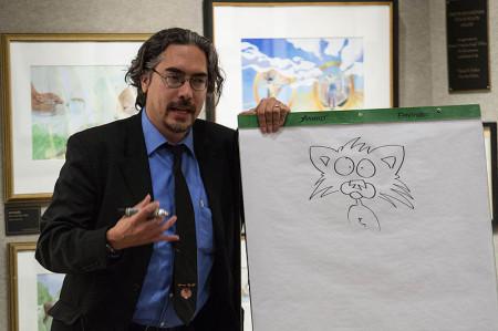 Nick_Bruel_drawing_Bad_Kitty_at_Mazza_Museum