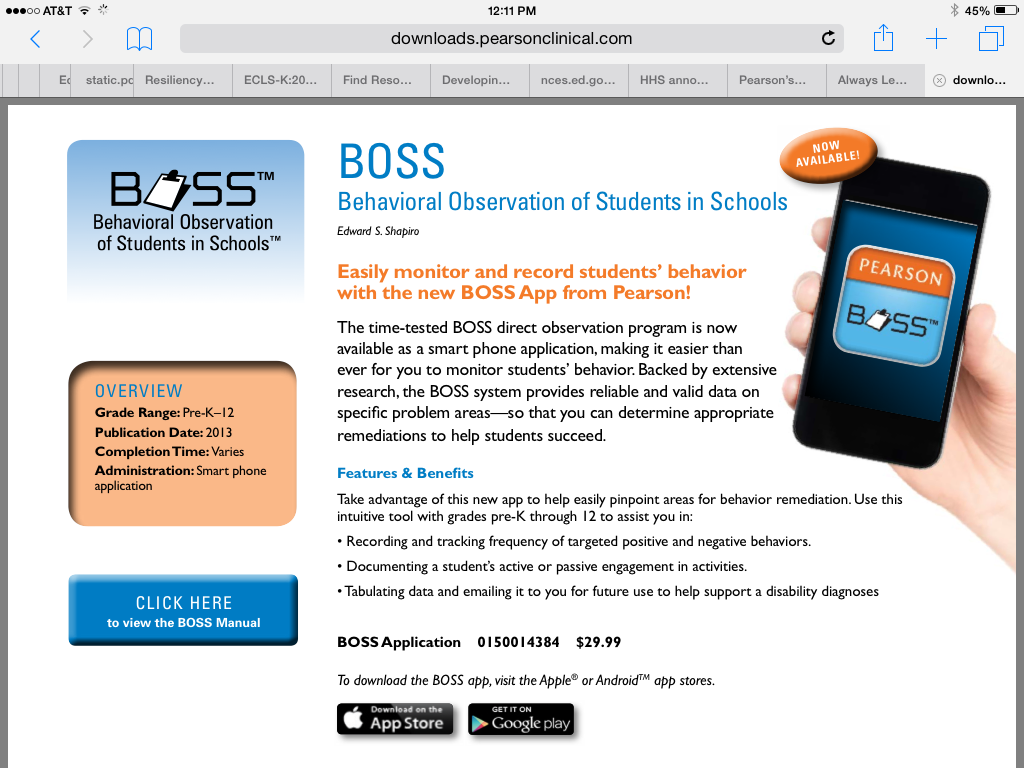BOSS- Behavioral Observation of Students in School